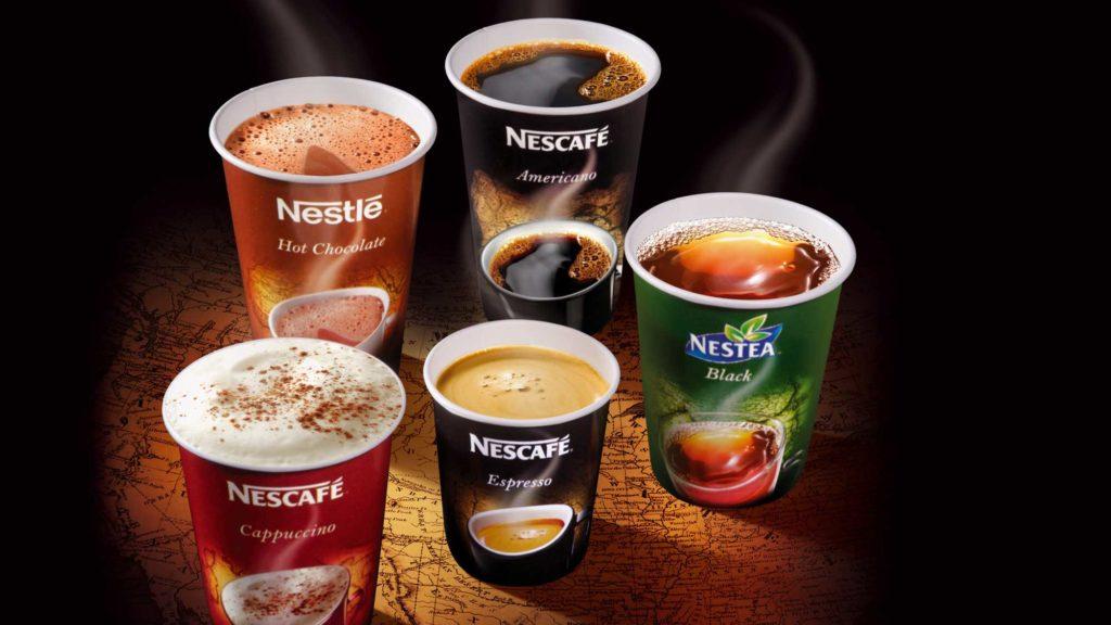 Nestlé beverages cups out of home on the go Chocolat Café coffee americano Cappuccino Espresso Nestea créés par l'Agence Packaging Satellites Design