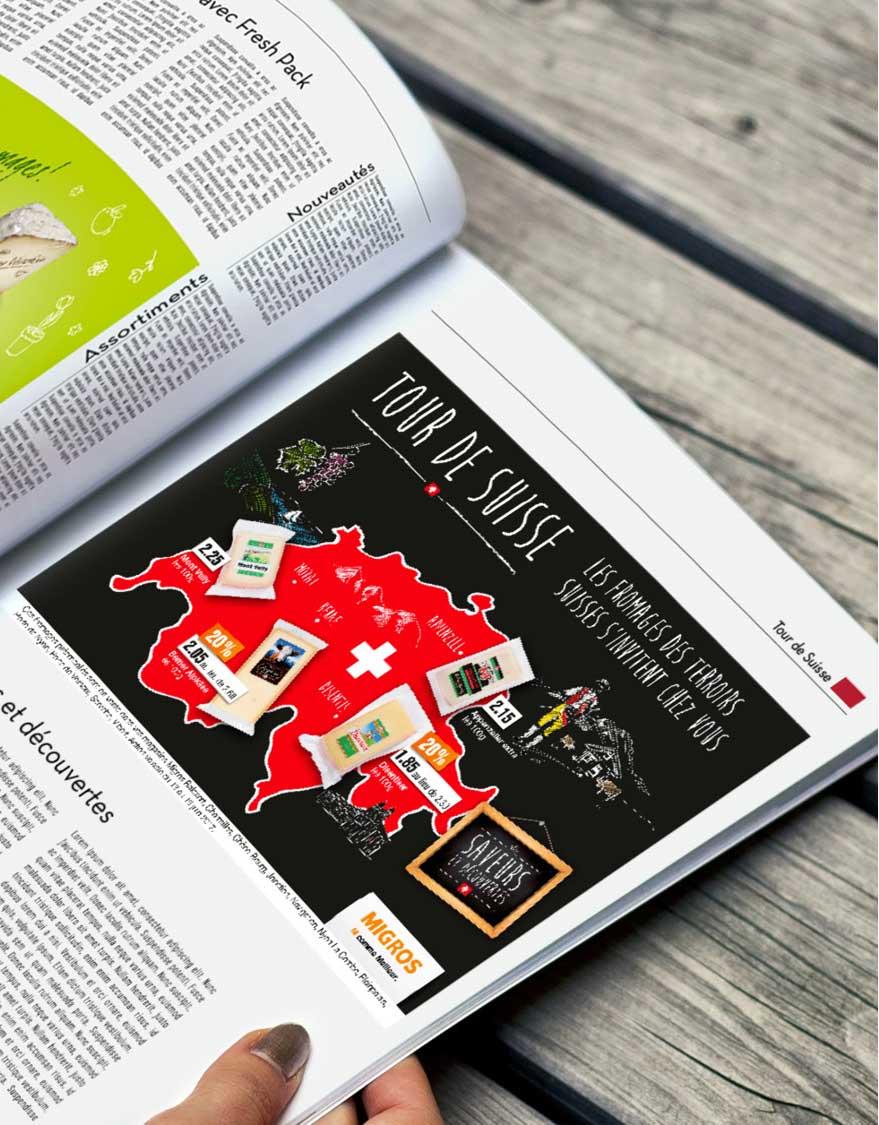 Annonce Tour de Suisse Mifroma Saveurs et découverte par Satellites Design